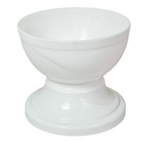 Műanyag nagy talpas tál fehér D15cm M13,5cm