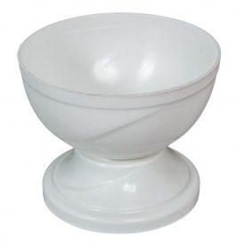 Műanyag nagy talpas tál fehér D18cm M14,5cm