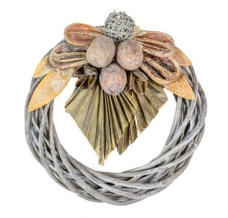 Vessző koszorú szürke trópusi szárazvirág díszítéssel 20cm