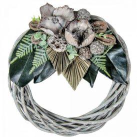 Vessző koszorú szürke trópusi szárazvirág díszítéssel 30cm