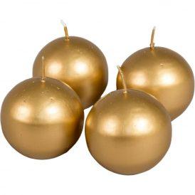 Metál gömb gyertya 60mm arany 4db/csom (db ár)