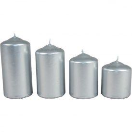 Metál 50mm-es lépcsős gyertya ezüst (csom ár)