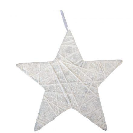 Glitteres krepp csillag akasztóval 25cm