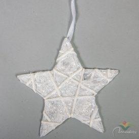 Krepp csillag fehér glitteres 15cm