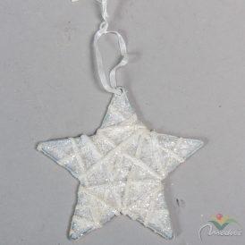 Krepp csillag glitteres akasztóval fehér10cm
