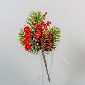 Fenyő pick piros bogyóval,tobozzal 18cm