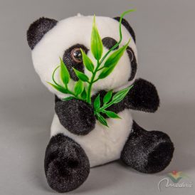 Plüss panda maci levéllel 12cm