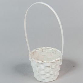 Bambusz füles kosár fehér D10x9,5/29cm