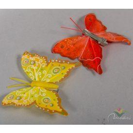 Pillangó csipeszes mintás 8cm 6db-os