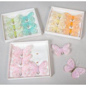 Pillangó csipeszes gyönggyel 8cm 6db-os