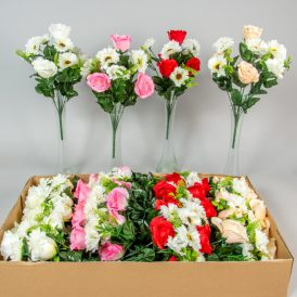 Rózsa,gerbera csokor 10v. M42cm 24db/#