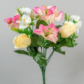 Rózsa, asztró, orchidea csokor 10v. M33cm 24db/#