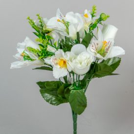 Rózsa, asztró, orchidea csokor 10v. M33cm 24/#