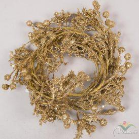 Glitteres bogyós koszorú arany D20cm