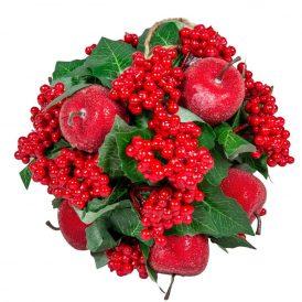 Akasztós bogyós,almás,leveles gömb 18cm