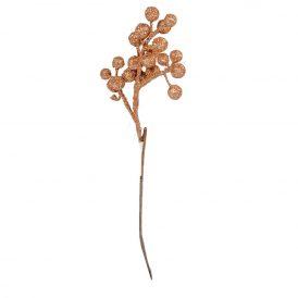 Bogyós ág glitteres,rosegold 42cm