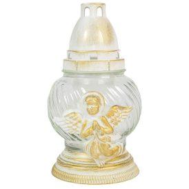 Fehér angyalkás gömb üvegmécses 20cm 6db/zsugor