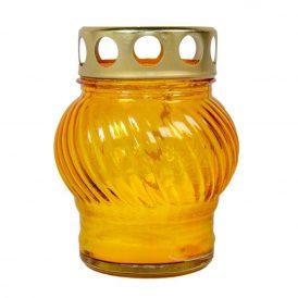 Öntött kis gömb üvegmécses fém tetővel sárga 10cm 10db/#