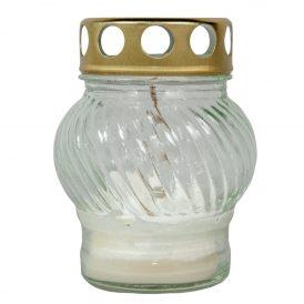 Öntött kis gömb üvegmécses fém tetővel fehér 10cm 10db/#