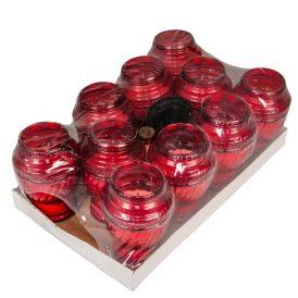 Öntött üvegmécses piros 20cm 400 gr. 10db/#