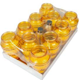Öntött üvegmécses sárga 20cm 400 gr. 10db/#
