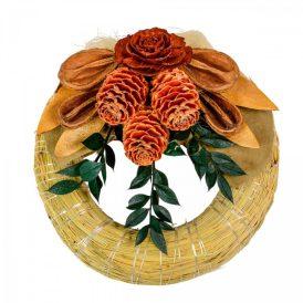 Szalma koszorú trópusi szárazvirág díszítéssel 15cm