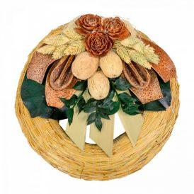 Szalma koszorú trópusi szárazvirág díszítéssel 20cm