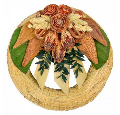 Szalma koszorú trópusi szárazvirág díszítéssel 25cm