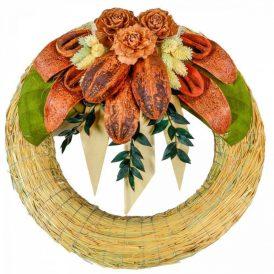 Szalma koszorú trópusi szárazvirág díszítéssel 30cm